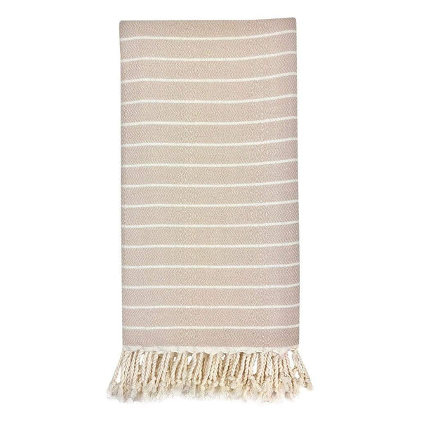 Slate & Salt Bath & Beach Beige Geo Stripe Turkish Towel