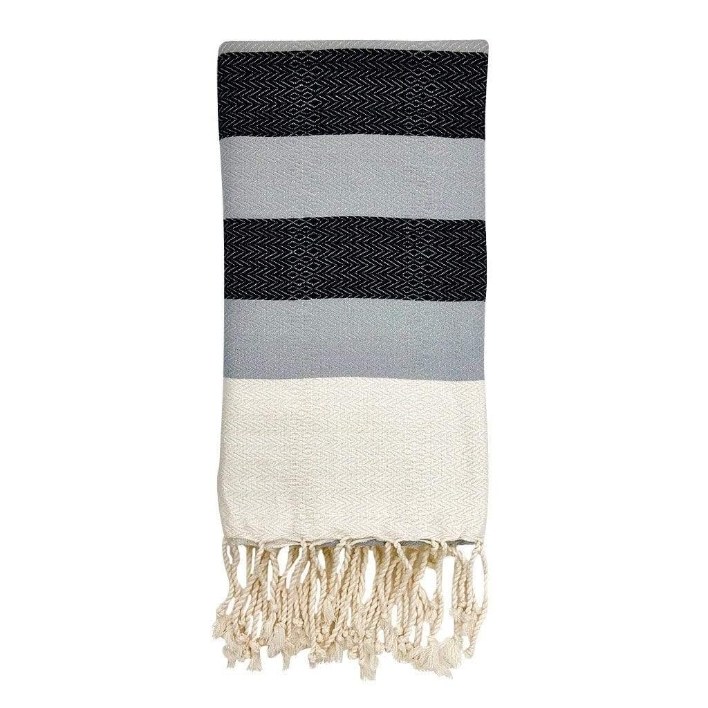 Slate & Salt Bath & Beach Black + Gray Plush Stripe Turkish Towel