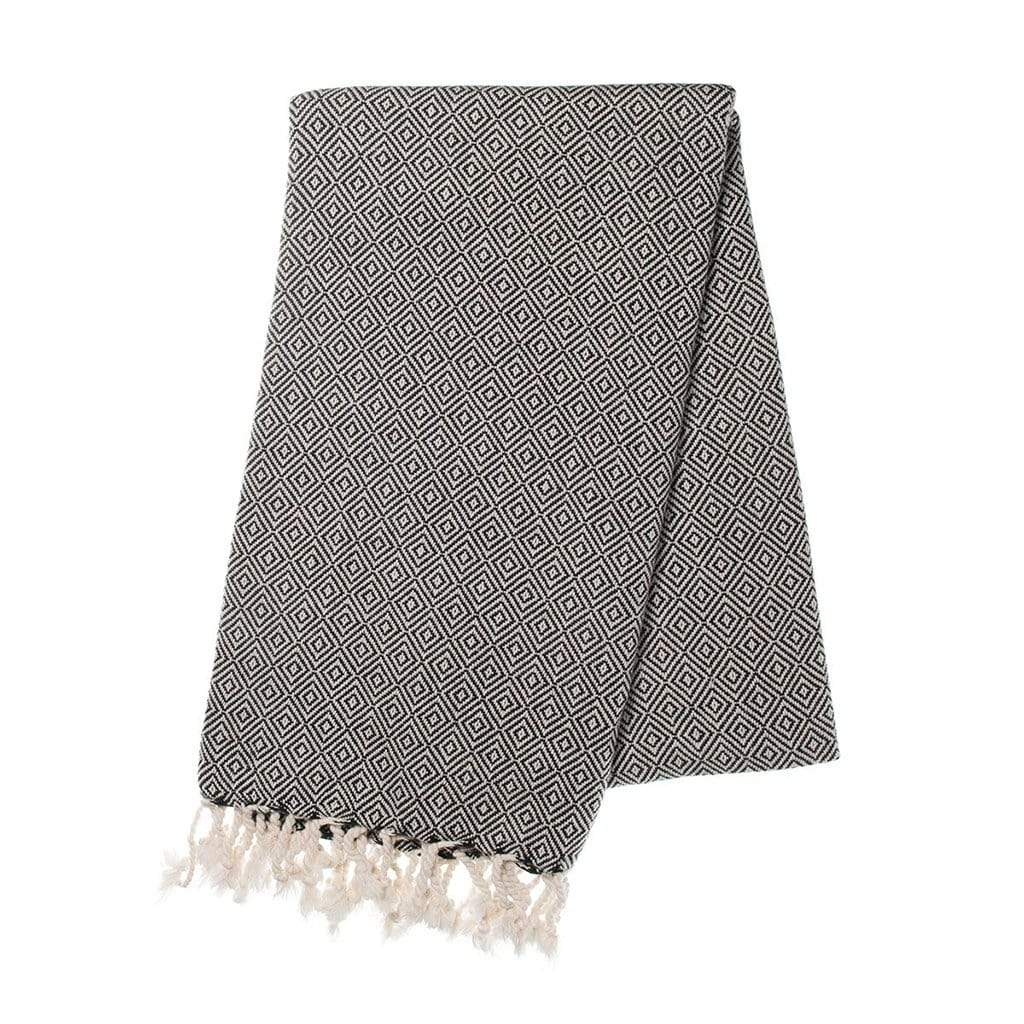 Slate & Salt Bath & Beach Diamond Black Turkish Towel