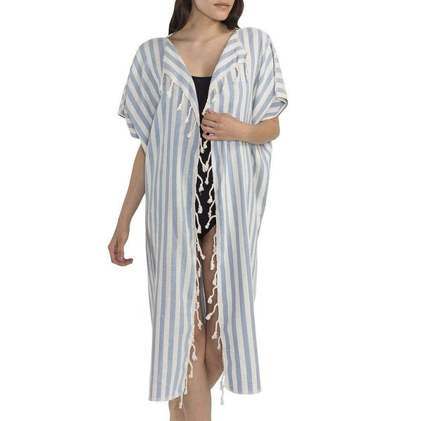 Slate & Salt Bath & Beach Nautical Stripe Ocean Turkish Kimono