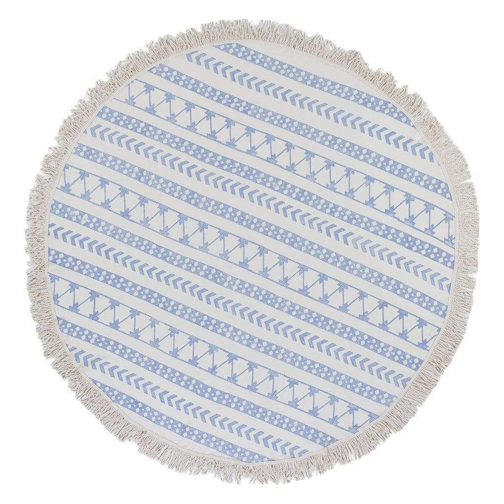 Slate & Salt Bath & Beach Stripe Block Print Roundie Beach Blanket