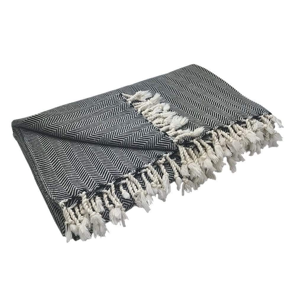 Slate & Salt Cushions & Throws Black Herringbone Turkish Throw Blanket