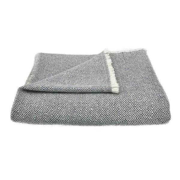 Slate & Salt Cushions & Throws Diamond Charcoal Cashmere Throw