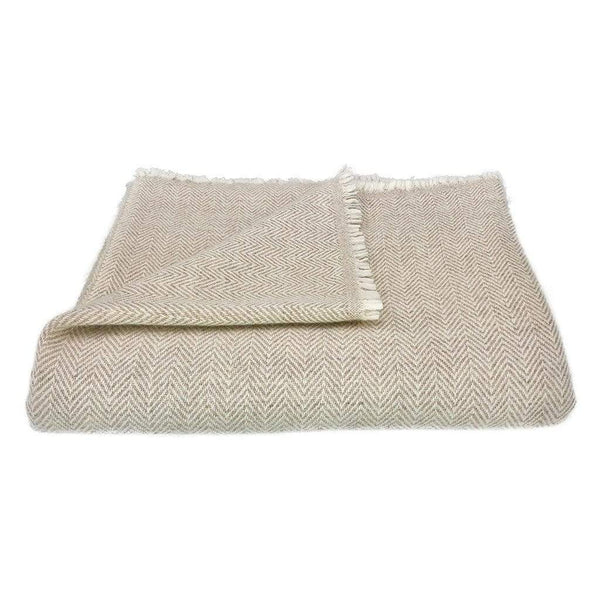 Slate & Salt Cushions & Throws Herringbone Champagne Cashmere Throw