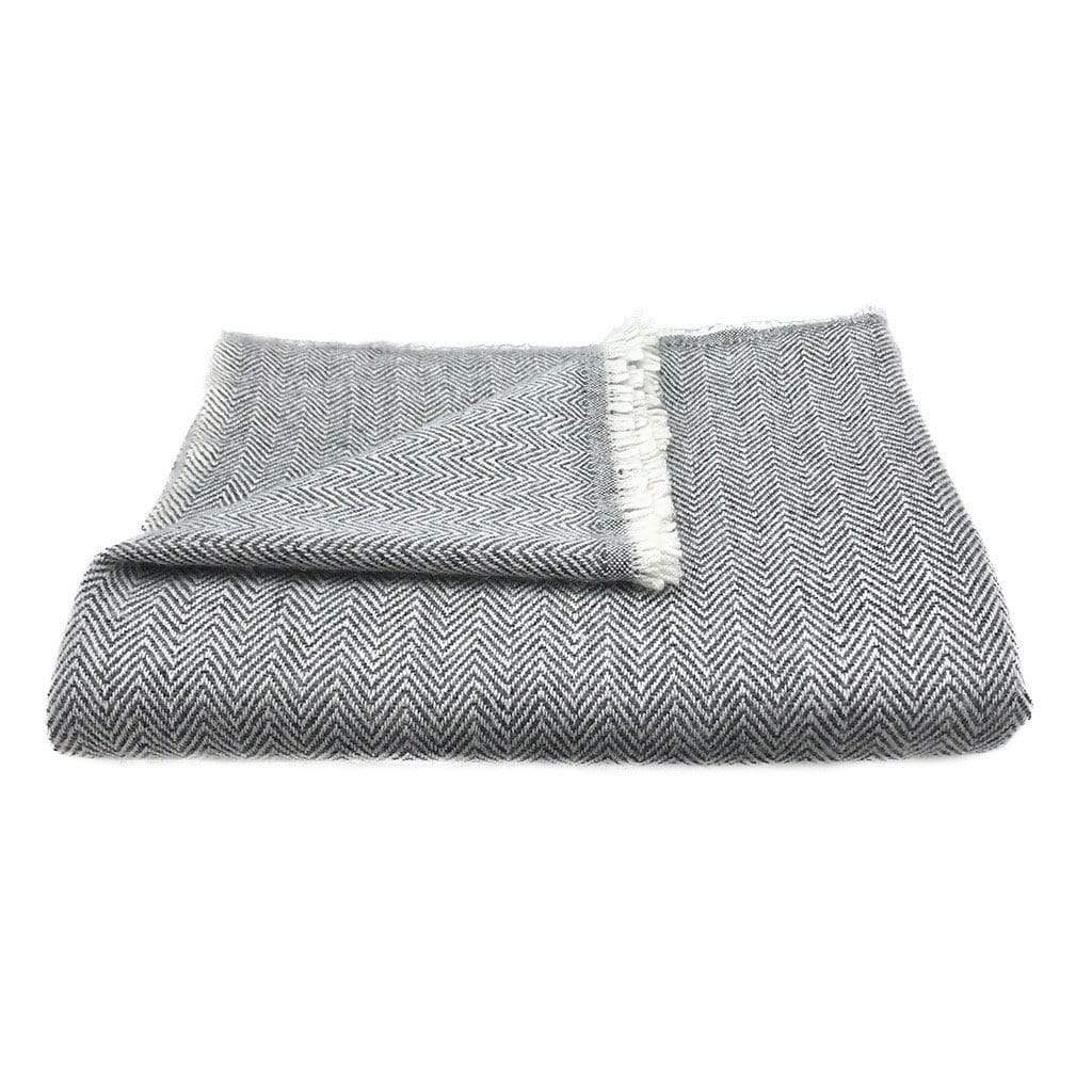 Slate & Salt Cushions & Throws Herringbone Charcoal Cashmere Throw