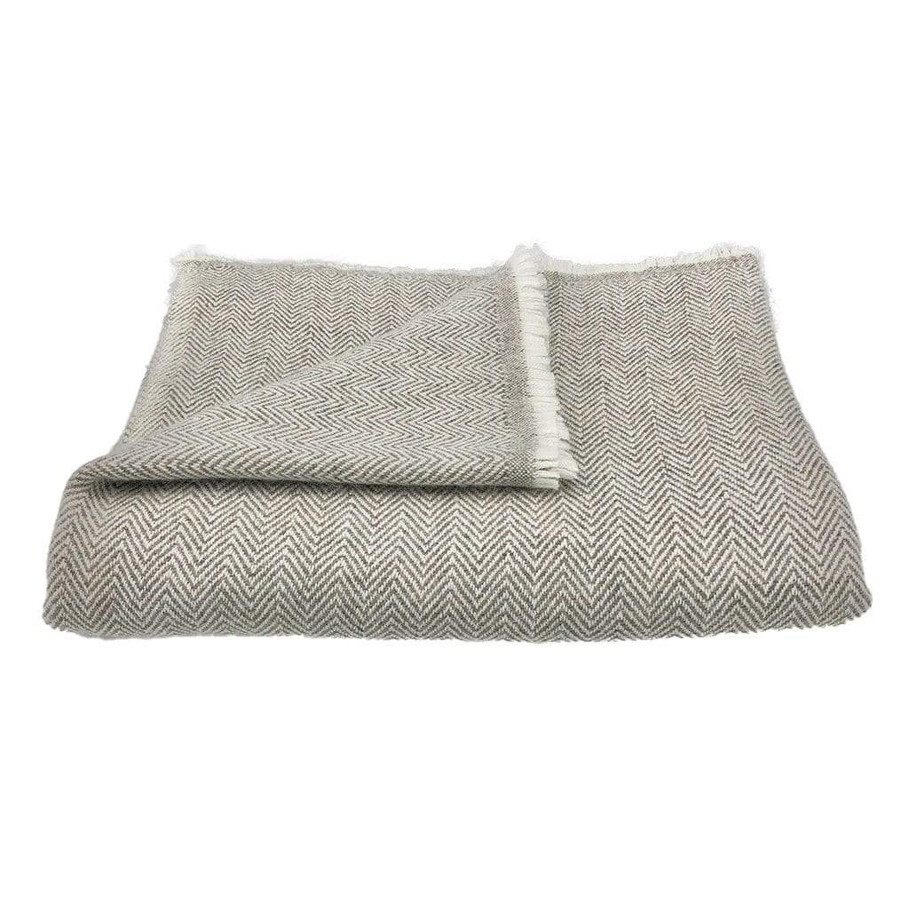 Slate & Salt Cushions & Throws Herringbone Esspresso Cashmere Throw