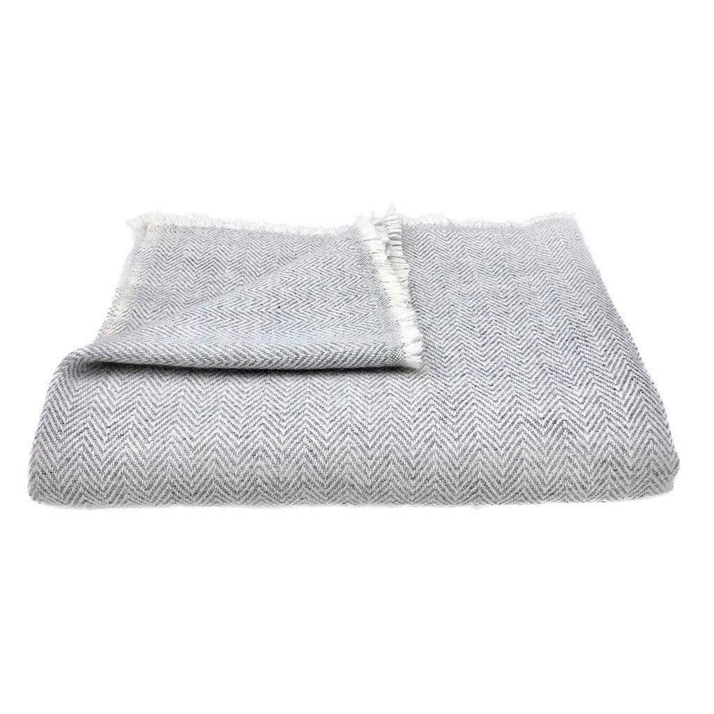 Slate & Salt Cushions & Throws Herringbone Gray Cashmere Throw