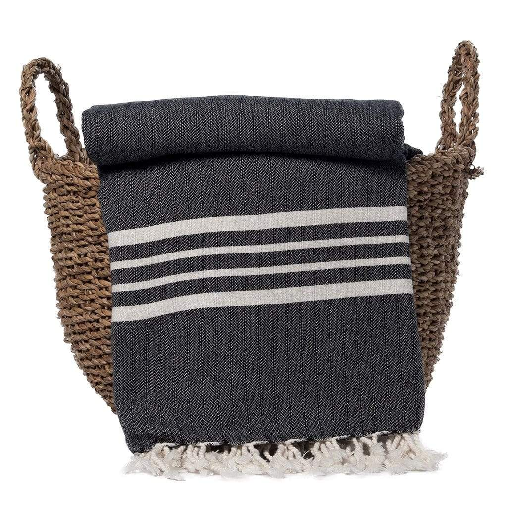 Slate & Salt Cushions & Throws Nautical Stripe Black Turkish Throw