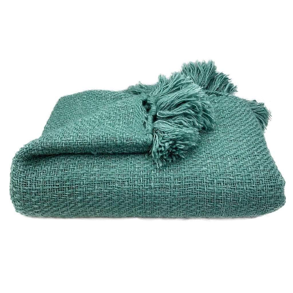 Slate & Salt Cushions & Throws Pom-Pom Emerald Alpaca Throw