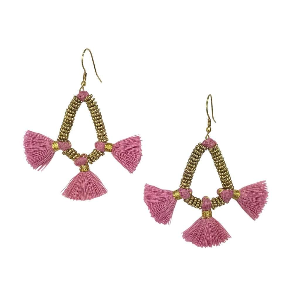 Slate & Salt Earrings Flamingo Nira Fringe Earrings
