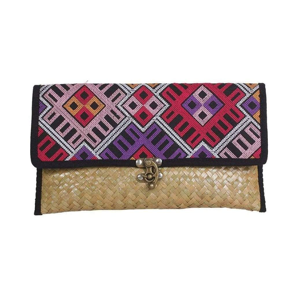 Slate & Salt Handbags & Clutches Embroidered Rattan Hmong Clutch