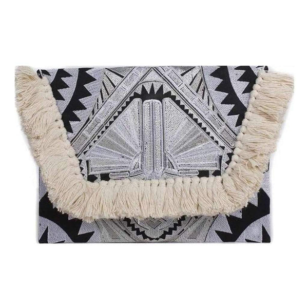 Slate & Salt Handbags & Clutches Fringe Art Deco Clutch