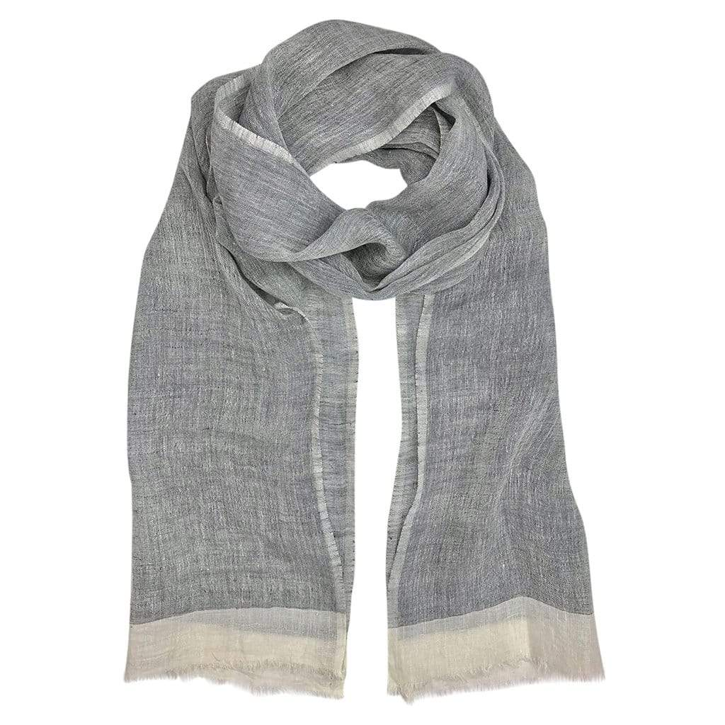 Slate & Salt Hats, Gloves & Scarves French Gray Gauze Linen Two Tone Scarf