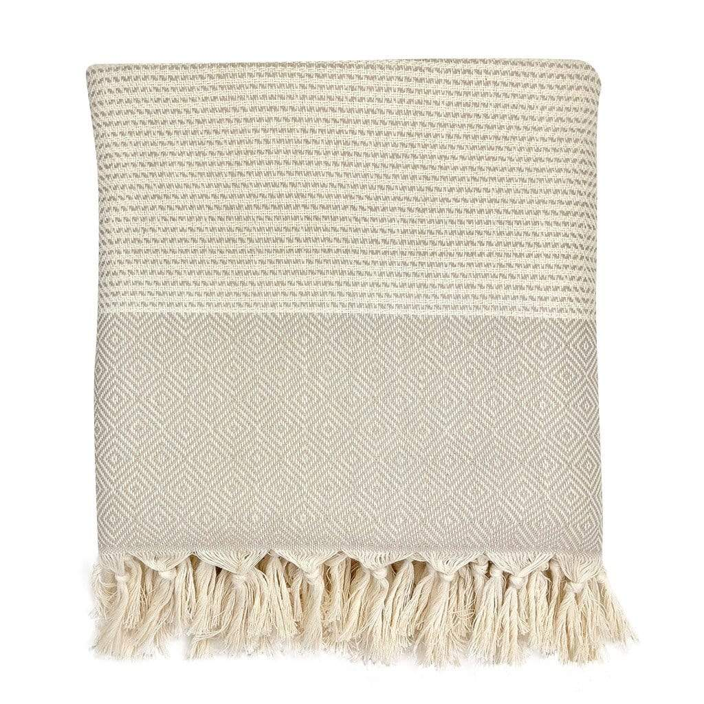 Slate & Salt Home Decor Sand Diamond Stripe Turkish Throw