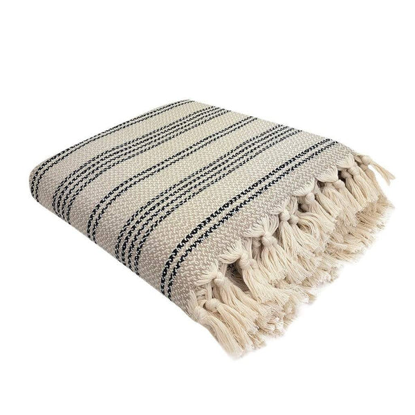Slate & Salt Home Decor Sand Woven Stripe Turkish Throw