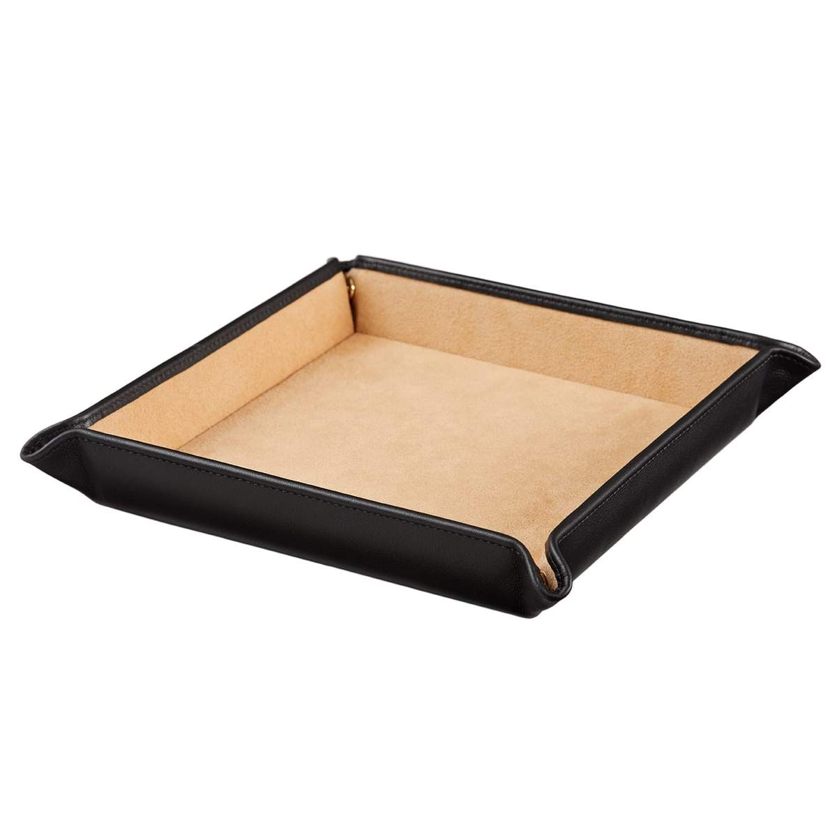 STOW Accessories Jet & Soft Sand Large Leather Valet Tray - Personalized