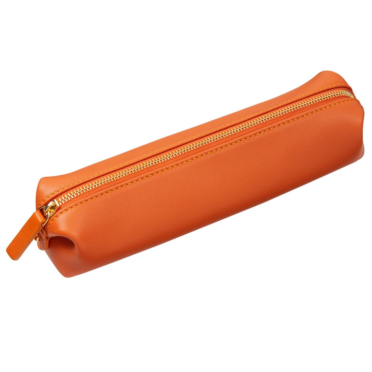 STOW Documents Cases & Folios Amber Orange & Beige Leather Pencil Case