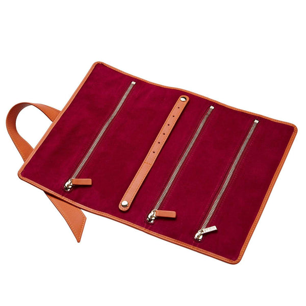 STOW Jewelry Cases Amber Orange & Berry / Blind The Gertrude Leather Jewellery Roll- Personalized