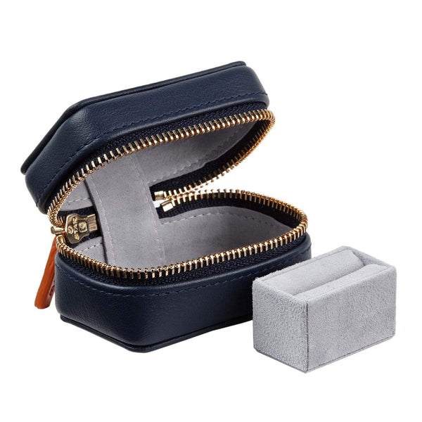 STOW Jewelry Cases Sapphire Blue & Pale Grey Leather Ring Box