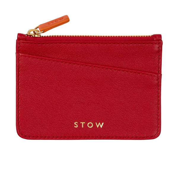 STOW Pouches Ridge Red & Beige / Blind Leather Coin Purse - Personalized