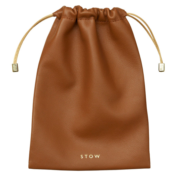 STOW Pouches Tan / Blind Large Leather Accessories Pouch- Personalized