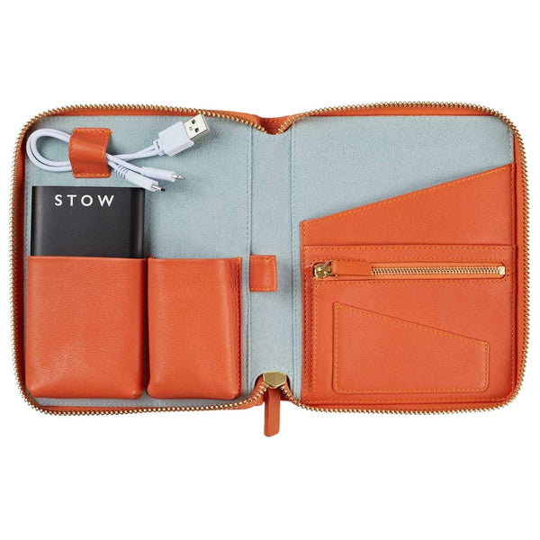 STOW Tablet Cases Amber Orange & Dusty Aqua / Black Powerbank & Black USB / Blind Mini First Class Leather Tech Case - Personalized