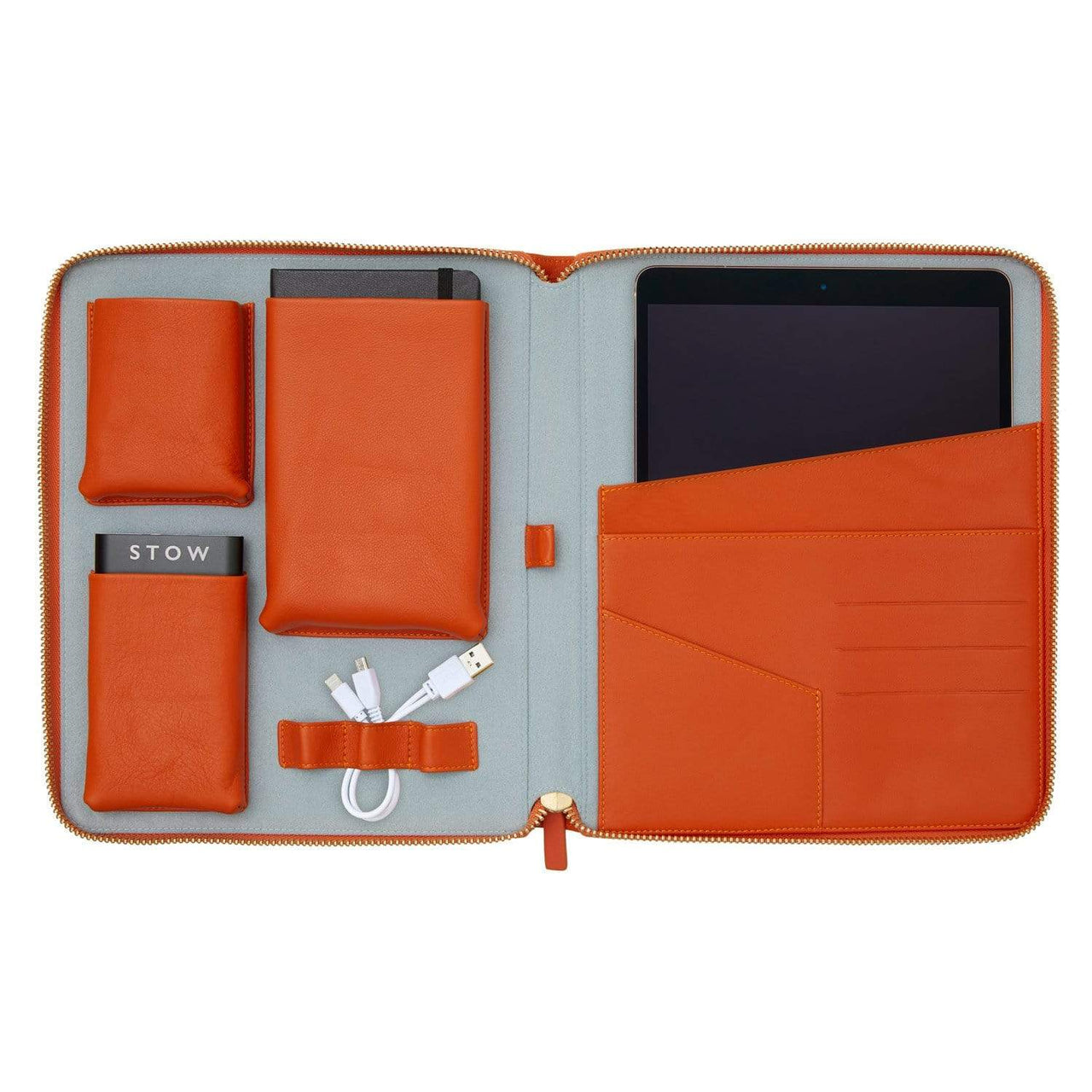 STOW Tablet Cases Amber Orange & Sky Blue / Black / Blind The World Class Tech Case- Personalized