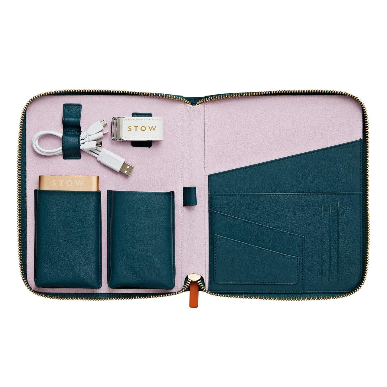 STOW Tablet Cases Emerald Green & Powder Pink / Gold Powerbank & White USB First Class Leather Tech Case