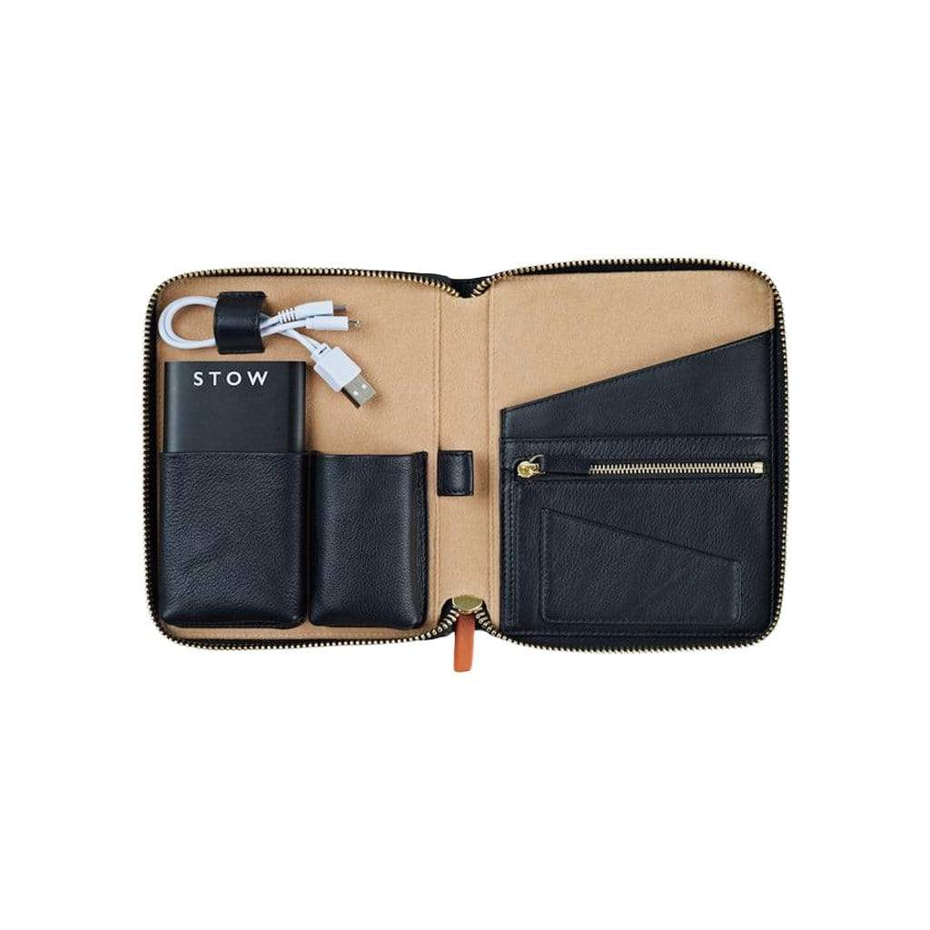 STOW Tablet Cases Jet & Soft Sand / Black Powerbank & Black USB / Blind Mini First Class Leather Tech Case - Personalized