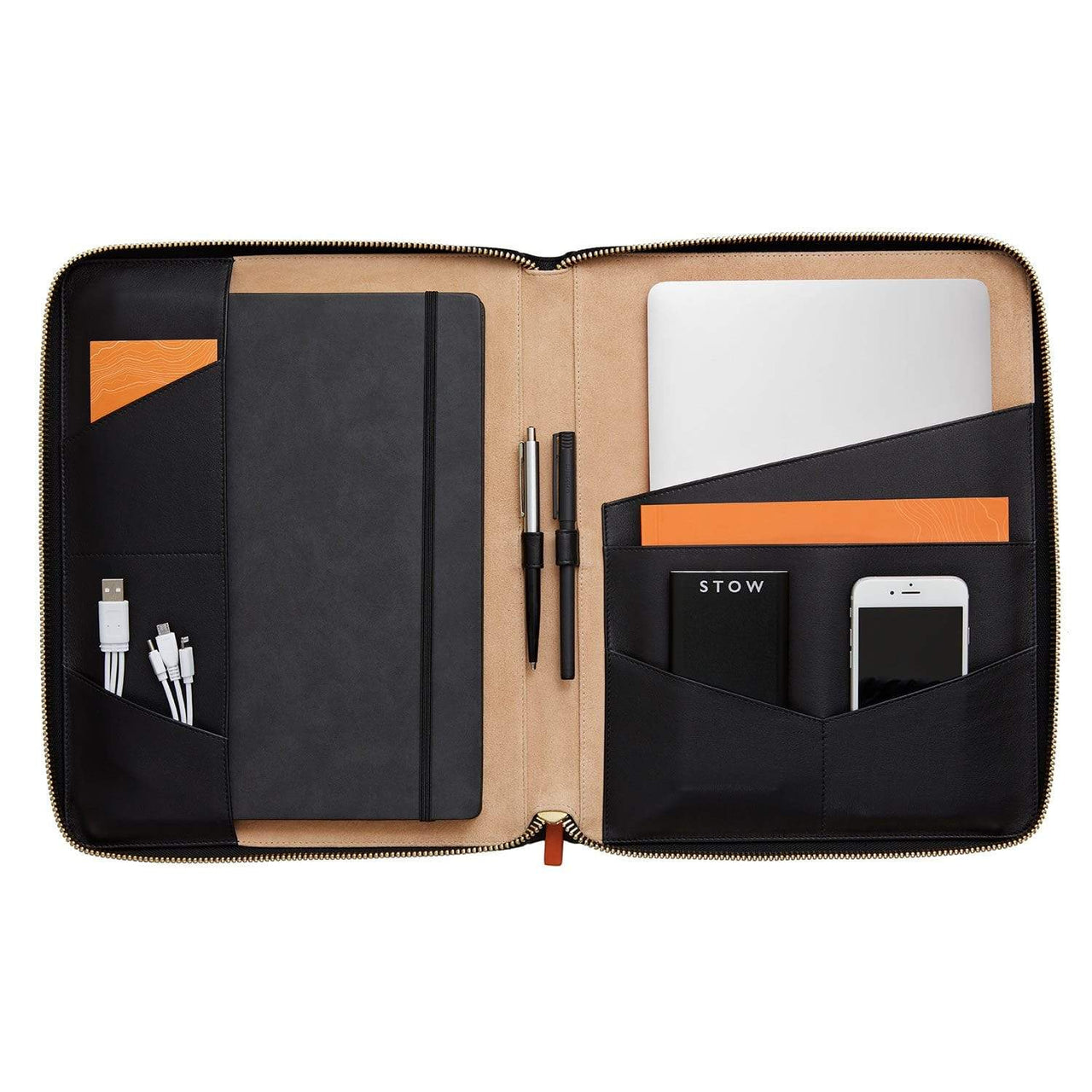 STOW Tablet Cases Jet & Soft Tan / Black / Blind The Executive Folio Tech Case- Personalized