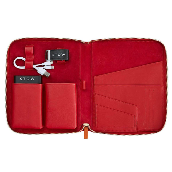 STOW Tablet Cases Ridge Red & Ridge Red / Black Powerbank & Black USB / Blind First Class Leather Tech Case - Personalized