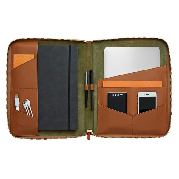 STOW Tablet Cases Sahara Tan & Eucalyptus / Black The Executive Folio Tech Case