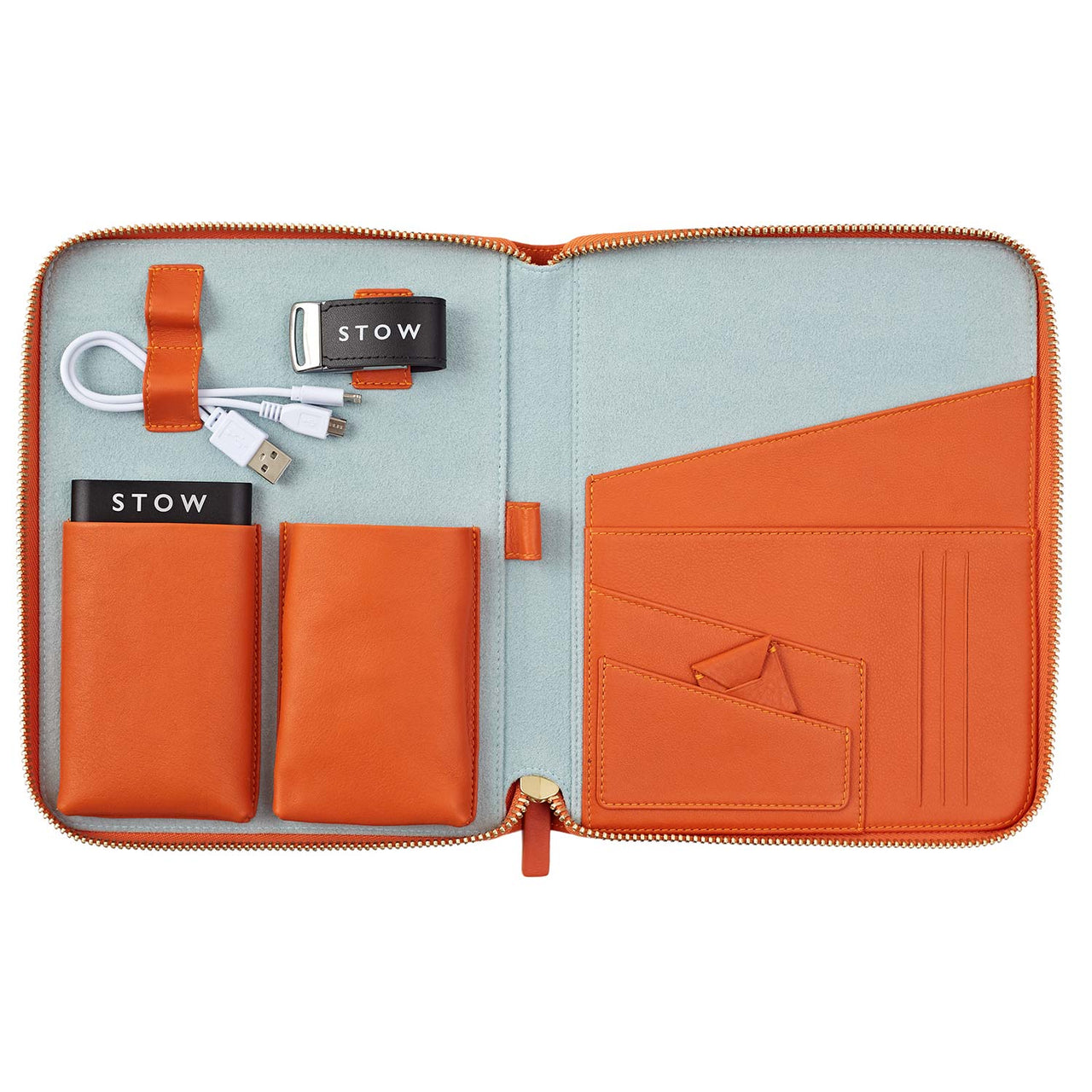 STOW Tech Cases Amber Orange & Dusty Aqua / Gold Powerbank & White USB First Class Leather Tech Case