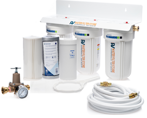 Jumbo Essential RV Water Filter + Iron Filter System - Total Solution