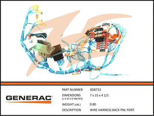 Generac 0D8733 Wiring Harness Back Panel Portable