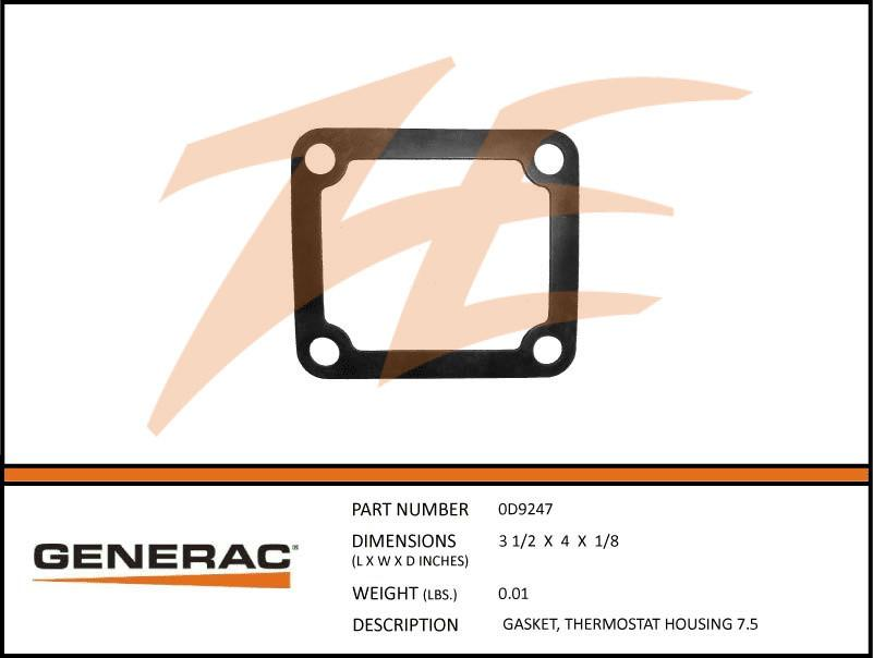 Generac 0D9247 Gasket, Thermostat HOUSING 7.5