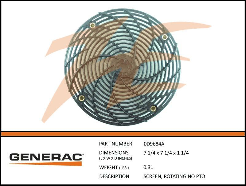 Generac 0D9684A SCREEN, ROTATING NO PTO