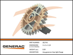 Generac 0E2743 Governor Gear Assembly Flyweight