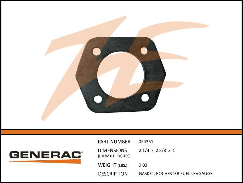 Generac 0E4351 Rochester Fuel Level Gauge Gasket