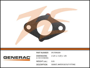 Generac 0F17040209 Gasket, Water OUTLET FITTING