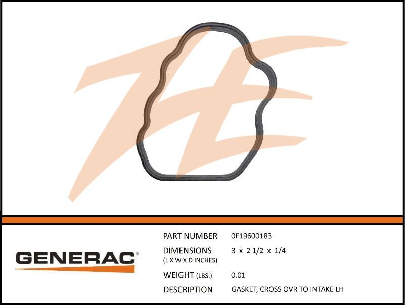 Generac 0F19600183 Cross Over To Intake Gasket Left Side 5.4L