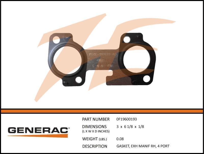 Generac 0F19600193 Exhaust Manifold Gasket Right Side 5.4L