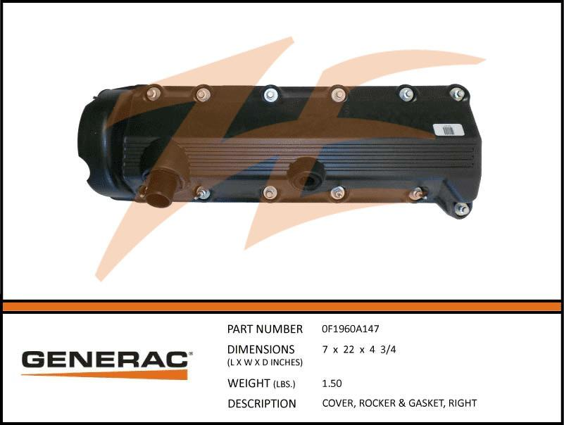 Generac 0F1960A147 Rocker Cover and Gasket Right