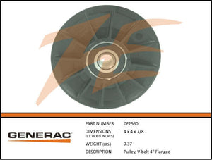 "Generac 0F2560 V-Belt Pulley 4"" Flanged"
