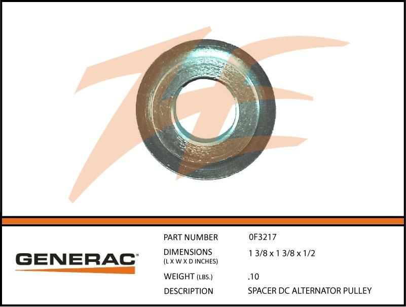 Generac 0F3217 SPACER DC Alternator PULLEY