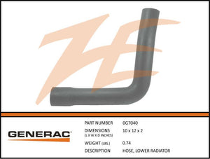Generac 0G7040 Hose, LOWER RADIATOR
