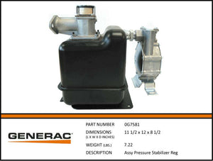 Generac 0G7581 Fuel Regulator Pressure Stabilizer Assembly