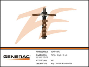 Generac 0G79740SRV Camshaft and Gear Assembly GT999