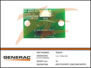 Generac 0G8242 Load Shed Keypad Interface Assembly