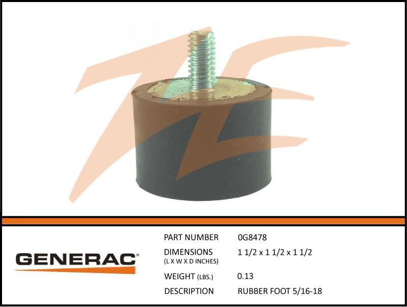 Generac 0G8478 RUBBER FOOT 5/16-18